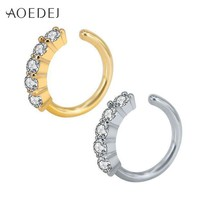 ac ESBO2Q AOEDEJ Crystal Nose Ring Hoop Gold Color 8mm Nose Piercing Jewelry Tpyes Helix Cartilage Earrings Piercing Nez Tragus Piercing