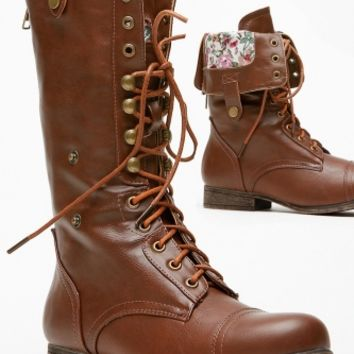 Bamboo Fold Over Floral Print Combat Boot @ Cicihot Boots Catalog:women's winter boots,leather thigh high boots,black platform knee high boots,over the knee boots,Go Go boots,cowgirl boots,gladiator boots,womens dress boots,skirt boots.