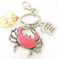 Crab Keychain, Sandy Toes Keychain, Salty Kisses Keychain, Beach Quote Keychain, Car Accessory, Ocean Critter Keychain, Pink Crab Keyring