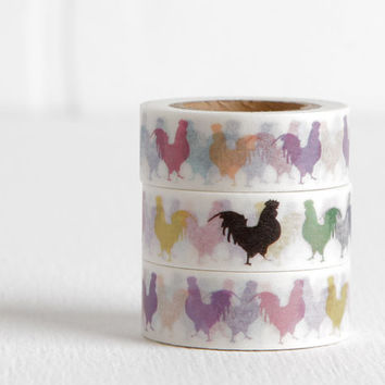 Pop Art Rooster Washi Tape, Chicken Poultry Farmstand DIY Idea 15mm