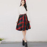 Plaid Print Knee-Length Midi Thick Skirt for Fall