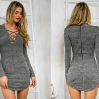 Criss-Cross Grey Knit Dress
