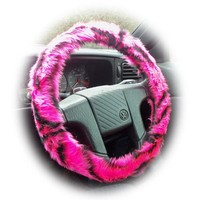 Pink and black tiger stripe fuzzy faux fur car steering wheel cover