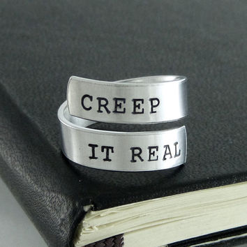 Creep It Real Ring - Halloween - Creepy - Goth - Horror - Aluminum Wrap Ring