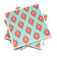 Tribal Turquoise and Red Teardrop Ceramic Coasters