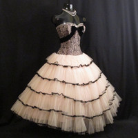 Vintage 1950's 50s STRAPLESS Bombshell Black Lace Pink Tulle Velvet Circle Skirt Party Prom Wedding DRESS Gown RARE Medium Large Size