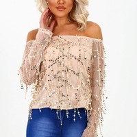 Steal The Show Gold Sequin Bardot Top