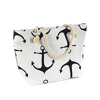 White Anchor Print Tote Bag