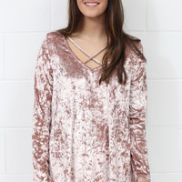 Heart Throb Crushed Velvet Strappy Blouse {Mauve Blush}
