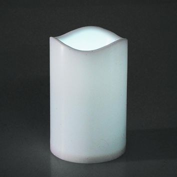 Flameless Plastic Candle LED Light, White, 4-1/2-Inch