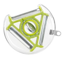 Basily 3 in 1 Rotary Peeler, Julienne Blade, Soft Skin Blade, Standard Blade, for Low Carb Raw Healthy Vegetable Meals & Food Decoration (Green)