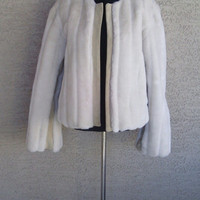 Faux Fur jacket with leather trim - size medium - cream color - early 90s vintage coat - bomber fur - Banana Republic