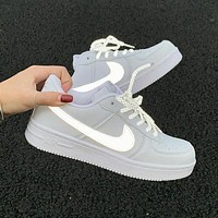 NIKE Air Force Newest Women Men Personality Reflective Hook Running Sport Shoes Sneakers White 1