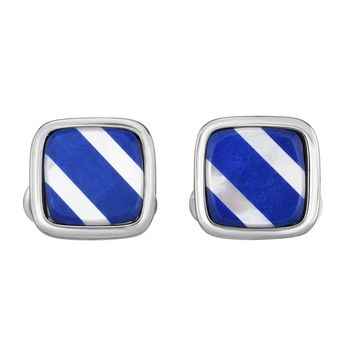 Sterling Silver Mother of Pearl and Lapis Square Cufflink