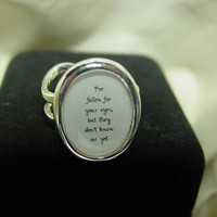 Ed Sheeran Musical Quote I've Fallen For Your Eyes But They Don't Know Me Yet Sterling Silver Plated Ring