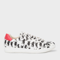 Women's White Leather 'Lapin' Trainers With 'Lucky Animals' Cat Print
