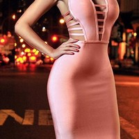 Cutout Detail Sleeveless Bandage Dress