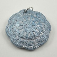 Silver and Ice Blue Vintage-Style Ceramic Pendant