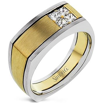 Simon G. Two-Tone Yellow & White Mens Diamond Ring