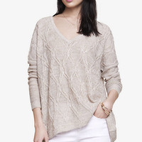 Marled Sheer Cable Tunic Sweater from EXPRESS