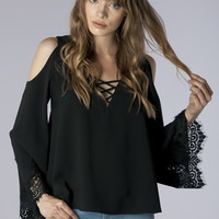 LADDER NECK W/ LACE SLEEVE BLOUSE