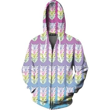 Trippy Cats Zip Up Hoodie