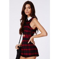 Missguided - Ashlee Tartan Collared Cut Out Romper Red