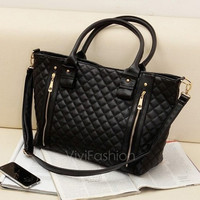 Black Retro Women Office Lady Quilted Shoulder Tote Bag Handbag Fashion VVF = 1932551812