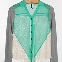 BKE Boutique Pieced Lace Shirt