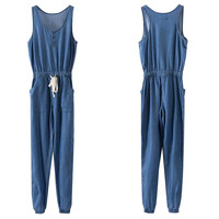Blue Sleeveless Elastic Waist Drawstring Denim Jumpsuit