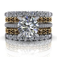 14 kt Gold Diamond Engagement Ring - Stacking Wedding Bands - Insieme™ Bridal Stackables