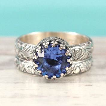 Blue Sapphire Engagement wedding ring set, sterling silver, 8 mm Swarovski sapphire crystal, vintage style floral band, Renaissance rings
