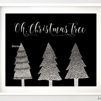 Oh Christmas Tree print in black and silver foil featuring whimsical trees