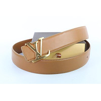 Louis Vuitton Woman Men Fashion Smooth Buckle Belt Leather Belt Skin Belts LV Beltt175