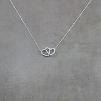 Heart Double Silver Necklace