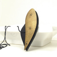 Oxidized Bronze and Black Resin Riveted Pendant Necklace - Cadence