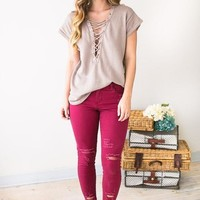 Distressed Mood Mid Rise Burgundy Jeans