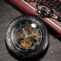 Vintage Skeleton Pocket Watch with Case & Mechanical Movement