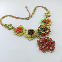 Bright Floral Necklace Pendant Yellow Orange Rhinestones Reclaimed Vintage Jewelry OOAK