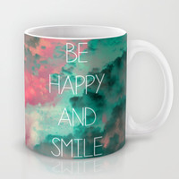 Be Happy and Smile Mug by Louise Machado
