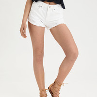 AE Denim X High-Waisted Festival Short, Sparkle White