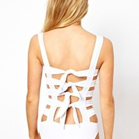 ASOS Caged Bow Back Swimsuit at asos.com
