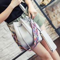Unique Women's Leather Bucket Bag with Purse Vintage Crossbody Shoulder Handbag Messenger Bag Gift