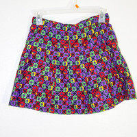 1990s bright rainbow color colorful pleated mini skirt, 90s 80s 1980s retro short girly skirt, soft grunge hipster urban outfitters rugrats