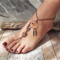 Bohemian Copper Dreamcatcher Slave Anklet Boho Hippie Stone Tribal Gypsy Copper  Dream Catcher Native American Inspired