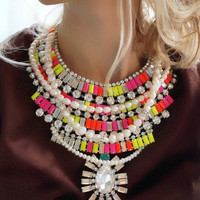 Lolita - gorgeous acrylic and swarovski neon and pearls statement necklace - Ready to ship