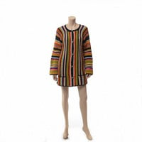 Vintage 70s Granny Stripe Crochet Sweater 1970s Fall Autumn Rainbow Colors Hipster Boho Knit Hippie Cardigan Long Jacket