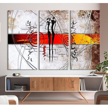 Large Abstract African Painting Canvas Wall Art Print
