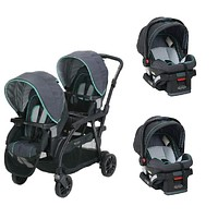 Graco Blue Baby, Infant Double Twin Sit N Stand Stroller Travel System with 2 Car Seats