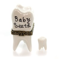 Hinged Trinket Box BABY TEETH Porcelain Childs First Eb616
